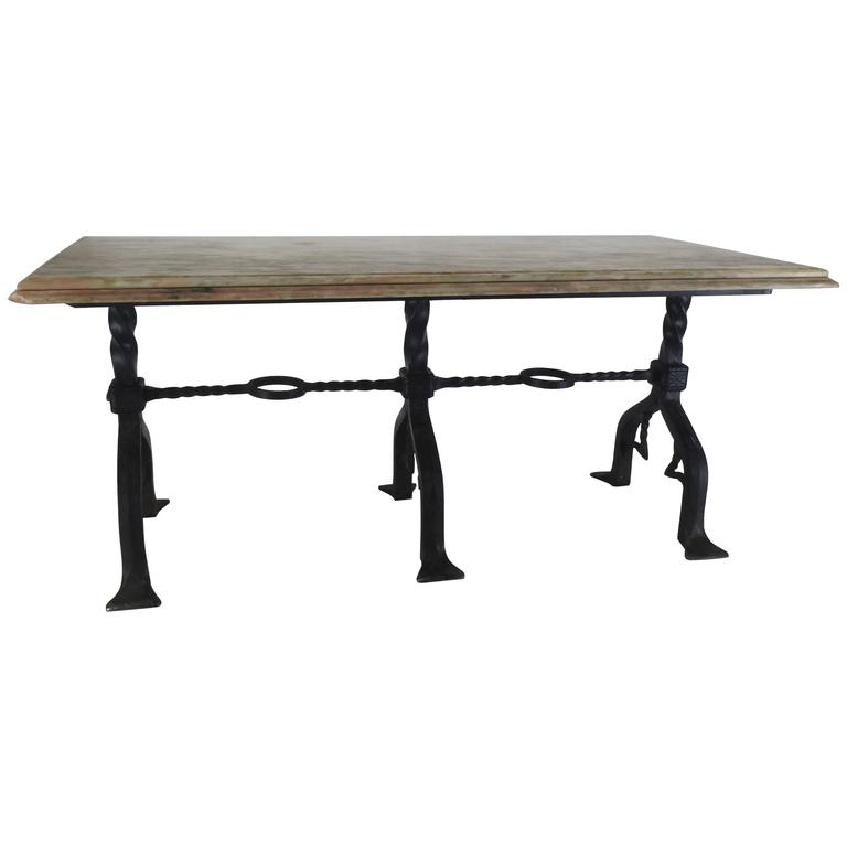 Marble-Top Banker's Table with Wrought Iron Base by Samuel Yellin