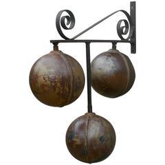Old Pawn Broker'S Three Balls Trade Sign