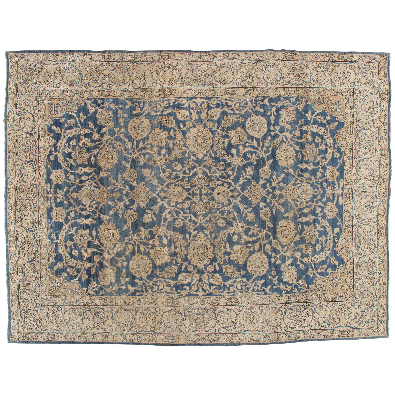 Antique Persian Kerman Carpet, Oriental Rug, Handmade, Blue, Ivory, Taupe, Tan