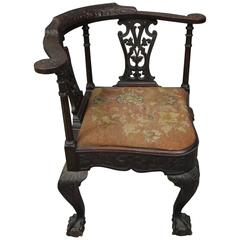 Chippendale Style Carved Mahogany and Floral Needlepoint Corner Chair, circa 188