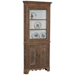 Georgian Style Antique English Oak Corner Cabinet, circa 1860