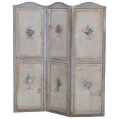 Antique French Painted Screen Paravent, circa 1880