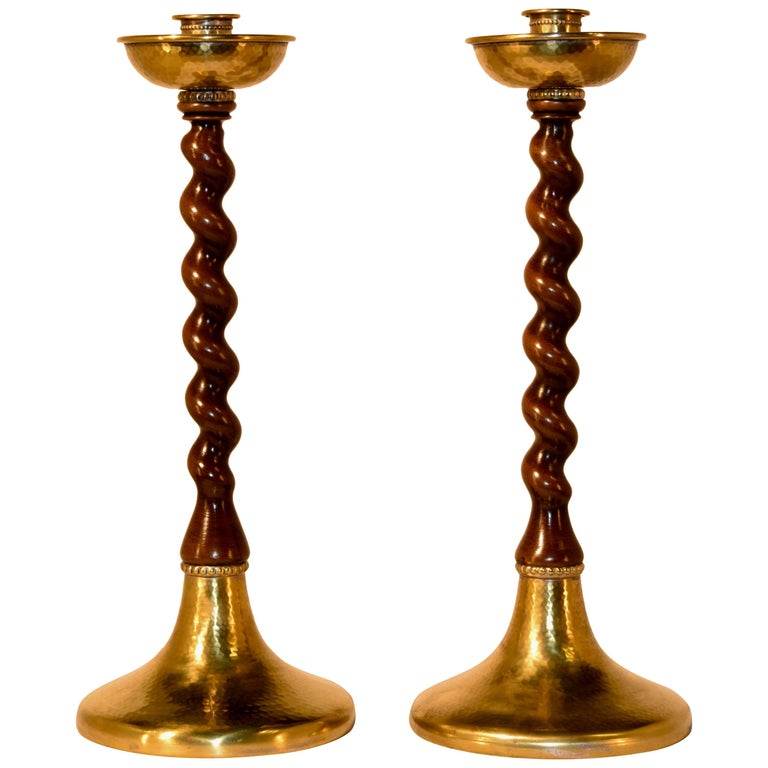 19th Century Pair of Walnut Candlesticks