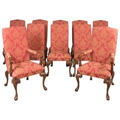 Set of Ten Upholstered Dining Chairs in Early 18th Century Manner, 20th Century
