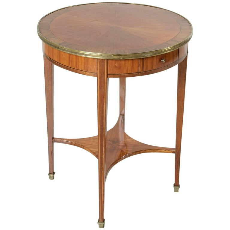 art deco period rosewood and walnut marquetry gueridon or side table brass trim for sale at 1stdibs. Black Bedroom Furniture Sets. Home Design Ideas