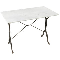 Mid-20th Century Iron Bistro Table, Cafe Table, Garden Table with Marble Top