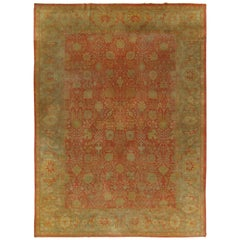 Extremely Fine Antique Sivas Handmade Carpet, Red and Green, All-over Design