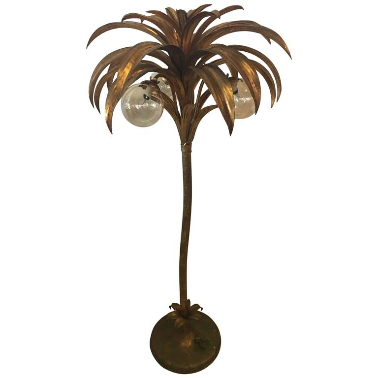 Palm tree floor lamp light brass gold tropical palm beach vintage palm tree floor lamp light brass gold tropical palm beach vintage for sale aloadofball Images