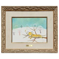 Henri Maik Whimsical Tiger Painting, Tigre Dans La Neige