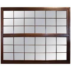 Antique Polished Oak Belgian Window Frame as Mirror