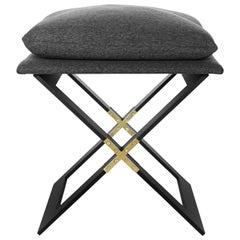 Marx Stool, Blackened Steel, Satin Brass and Charcoal Gray Herringbone Fabric