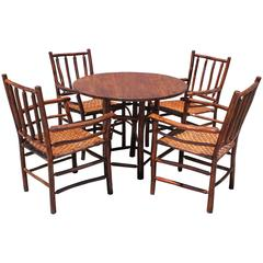 Rare Signed Old Hickory Table and Chairs, Five Pieces Set