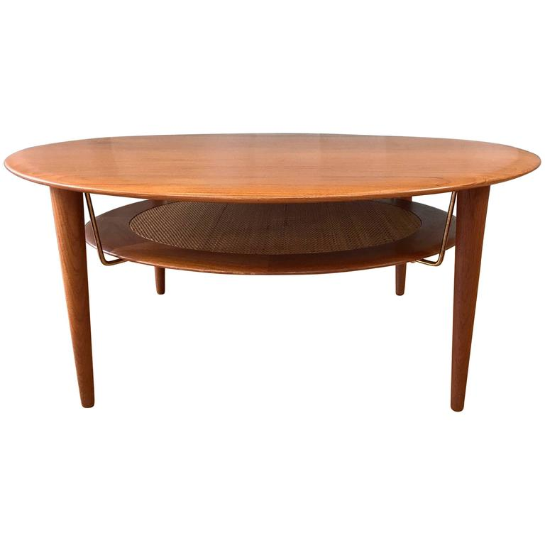 Hvidt & Mølgaard-Nielsen for France & Søn Teak and Rattan Coffee Table For Sale