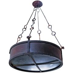 One of a Kind Hammered Copper and Iron Round Light from France, circa 1920