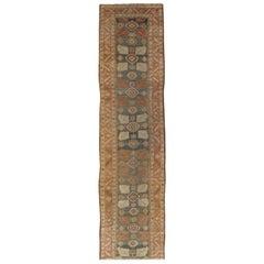 Antique Persian Heriz Runner, Handmade Wool Oriental Runner, Rust, Navy, Ivory