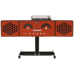 1965 Vintage Brionverga RR126 Rare Brick Red Am Fm Stereo Radio and Turntable