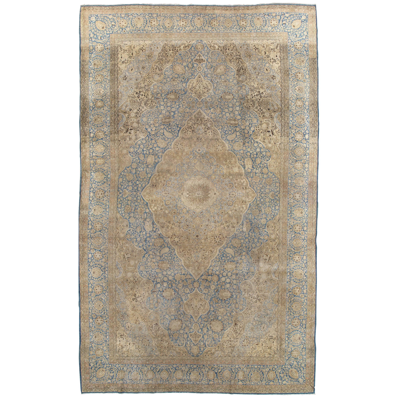 Antique Tabriz Carpet, Handmade Carpet, Light Blue, Gold and Ivory
