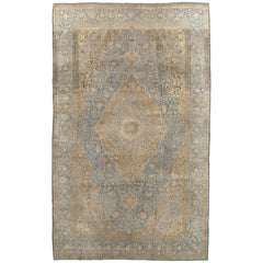 Antique Tabriz Carpet, Handmade Carpet, Light Blue, Gold and Ivory