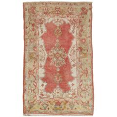 Antique Oushak Rug, Handmade Rug in Coral, Green, Ivory and Light Blue