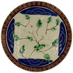 Majolica Morning Glory Vine Plate, Germany, circa 1880