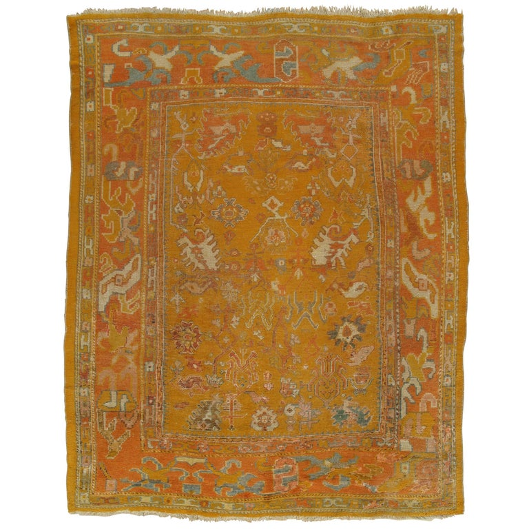 Antiker Oushak Teppich, Orientaler Teppich, Handgemacht, Orange, Elfenbein, Safran 1