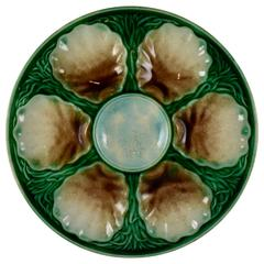 Salins-les-bains French Faïence Majolica Oyster Plate, circa 1870-1890