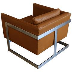 Original Leather U0026quot;Cubeu0026quot; Chair By Milo Baughman