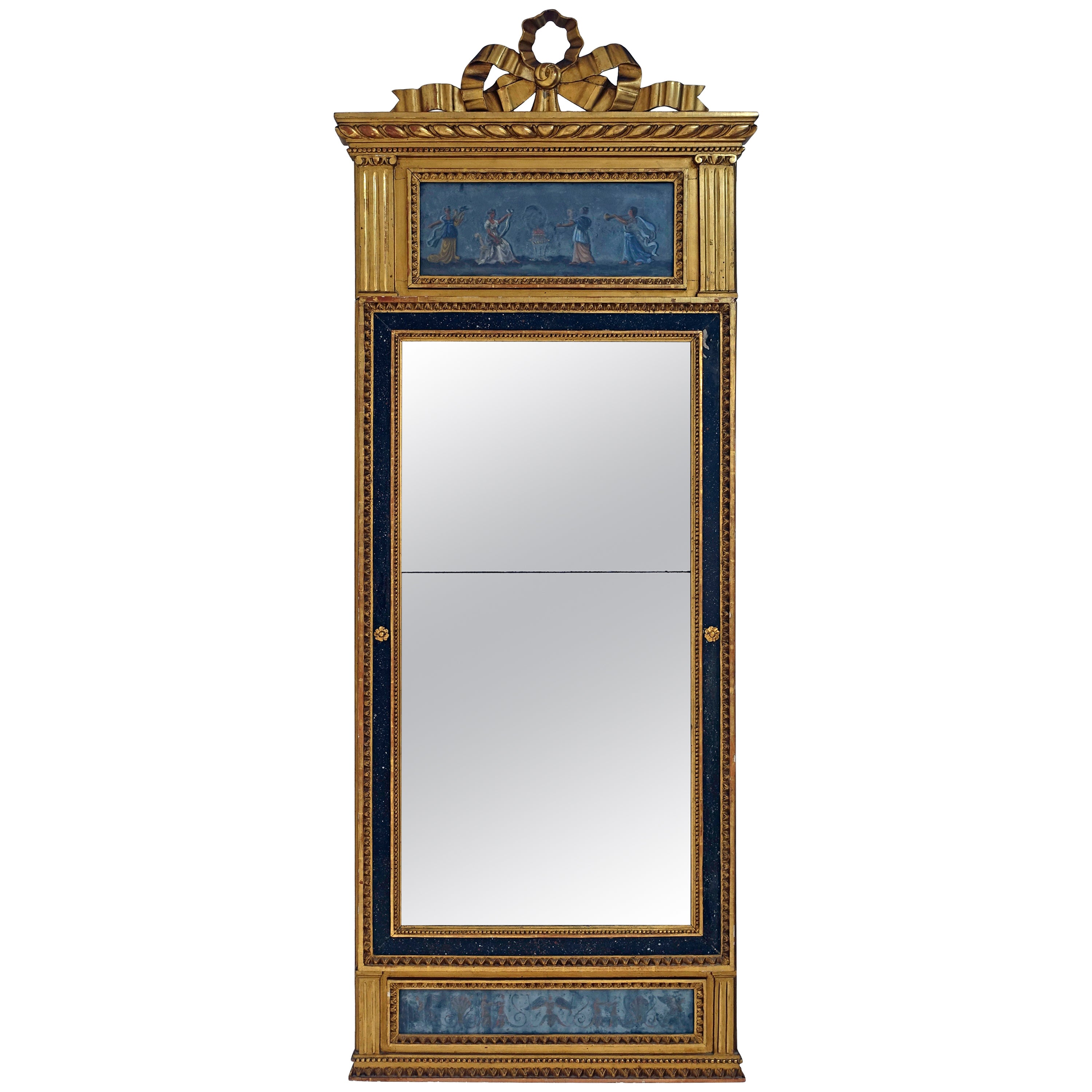 French Neoclassical Giltwood and Eglomise Pier Mirror