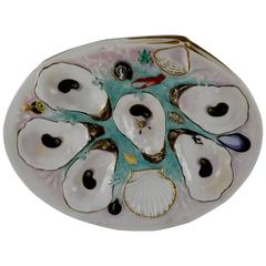 United Porcelain Works Clam Shaped Turquoise Ground Oyster Plate