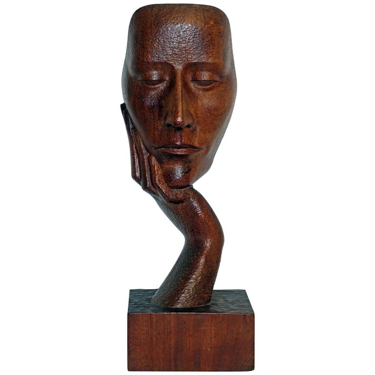 Mid-Century Wood Sculpture by Peter Ganine 1