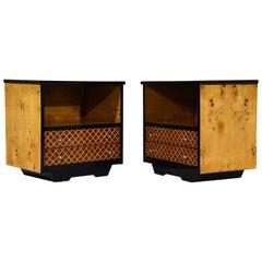 Pair of Mid-Century Burled Wood Nightstands