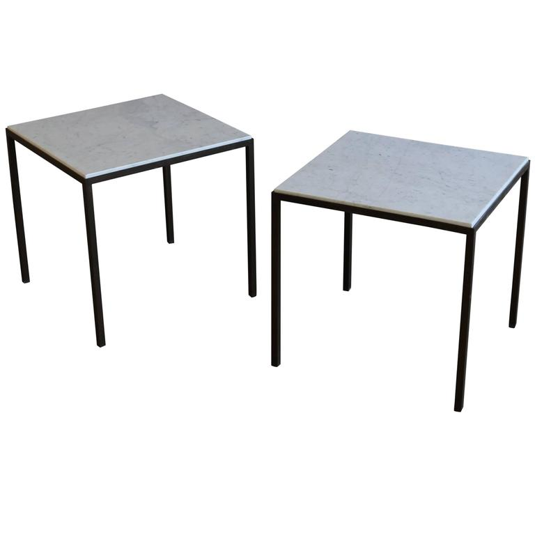 Patinated Brass and White Marble Side Tables