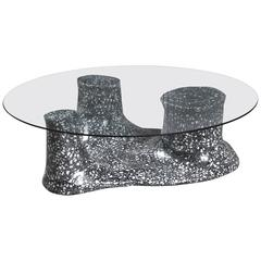 Moonscape Organic Cement and Marble Terrazzo and Glass Coffee Table