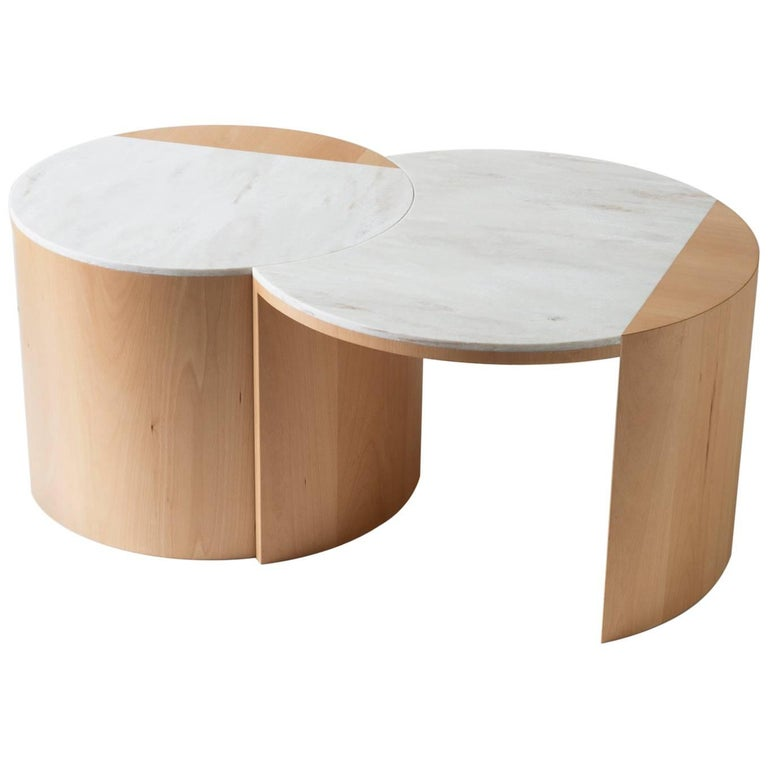 Contemporary Gibbous Coffee Table in European beech with Witch Hazel Corian. 1