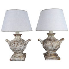 Pair of Carved Italian Painted Urn Lamps with Custom Linen Shades