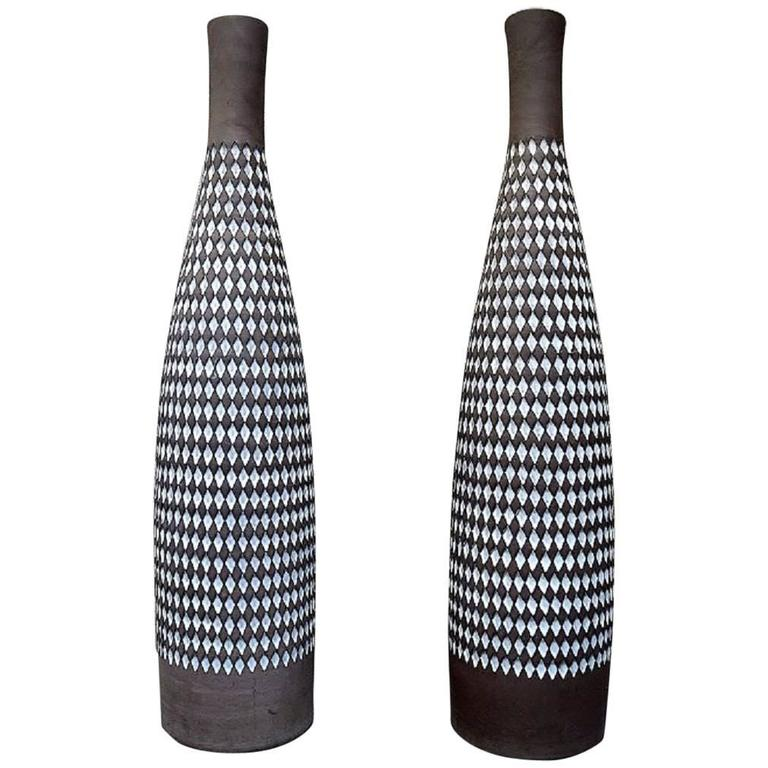 "Ingrid Atterberg for Upsala-Ekeby a Pair of Huge ""Pepita"" Ceramic Floor Vases"