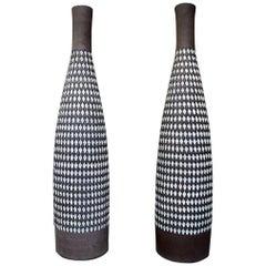 "Ingrid Atterberg for Upsala-Ekeby a Pair of Huge ""Pepita"" Ceramic Floor Vases"