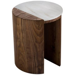 Contemporary Gibbous Side Table in  atural Oiled Walnut with Witch Hazel Corian