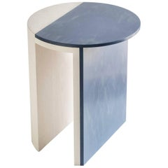 Gibbous Blue and White Side Table by Robert Sukrachand, Made in USA