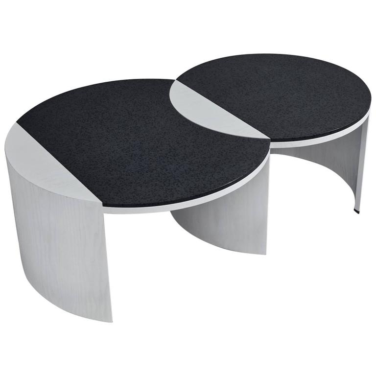 Gibbous Black And White Coffee Table By Robert Sukrachand Made In Usa For