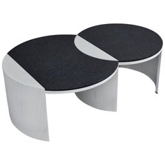 Gibbous Black and White Coffee Table by Robert Sukrachand, Made in USA