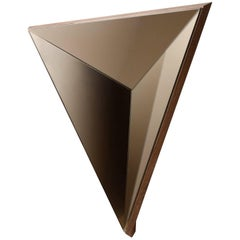 Contemporary Volume Bronze Mirror Concave in Walnut , Made in USA