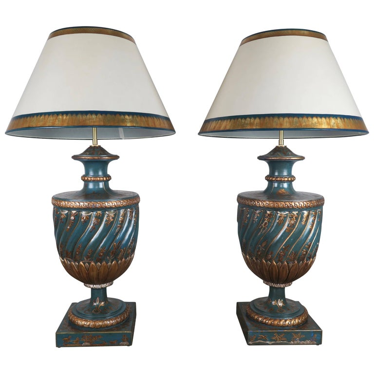 Teal and Gold Chinoiserie Painted Colored Lamps, Pair For Sale