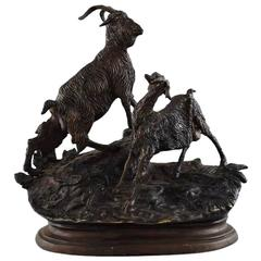 Jules Moigniez Bronze Sculpture of Goat Pair on Oval Base
