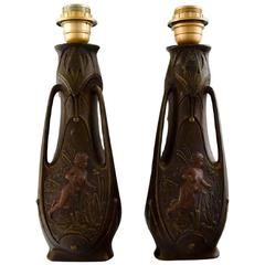 Jean Garnier, Pair of French Art Nouveau Bronze Table Lamps