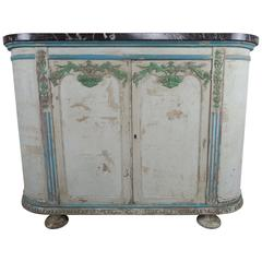 French Painted Louis XV Style Cabinet with Marble Top