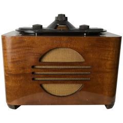 Rare Art Deco Bakelite and Walnut Philco Tube Radio, Norman Bel Geddes