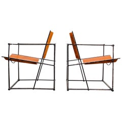 Pair of Cube Lounge Chairs by Radboud Van Beekum for Pastoe