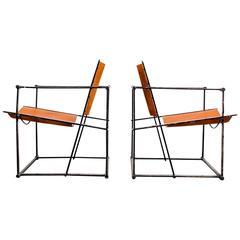 Pair of Cube Lounge Chairs by Radboud Van Beekum for Pastoe