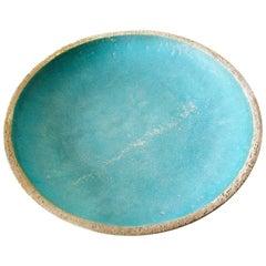 Barbara Willis Turquoise Blue Glazed Stoneware Open Bowl Charger
